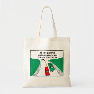 Vintage Kitsch 60s Drivers Ed Manual Passing Cars Budget Tote Bag