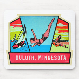 Vintage Kitsch 60s Dultuh Minnesota Travel Decal Mouse Mat