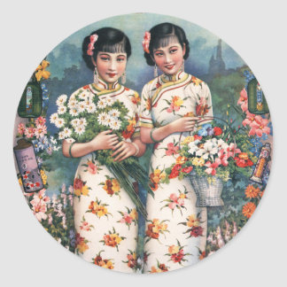 Vintage Kitsch Asian Advertisement Girls Classic Round Sticker