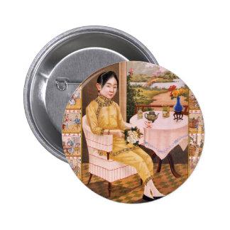 Vintage Kitsch Asian Tea Advertisement Girl 6 Cm Round Badge