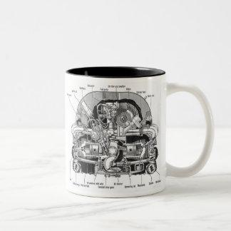 Vintage Kitsch Auto Engine Motor Illustration Two-Tone Coffee Mug