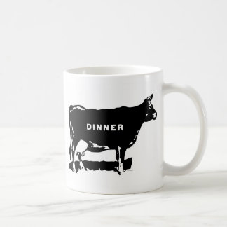 Vintage Kitsch Beef Dinner Ad Illustration Basic White Mug