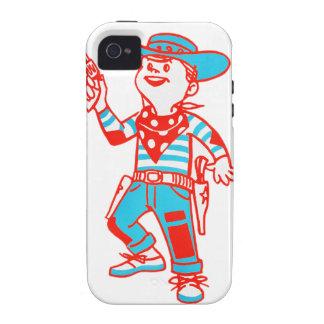 Vintage Kitsch Cartoon Cowboy Kid Boy Case-Mate iPhone 4 Cover