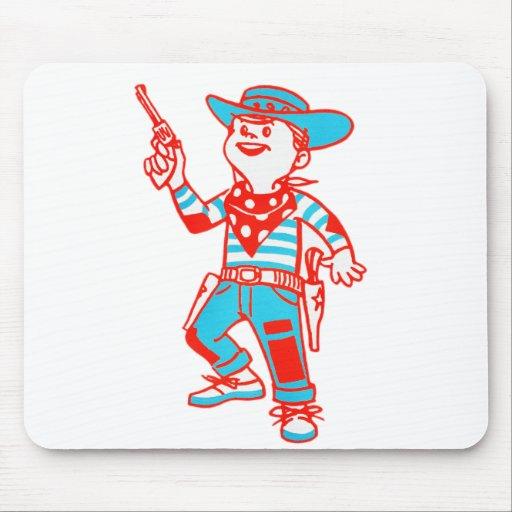Vintage Kitsch Cartoon Cowboy Kid Boy Mouse Pad