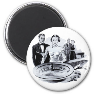 Vintage Kitsch Casino Gambling Roulette Wheel Magnet