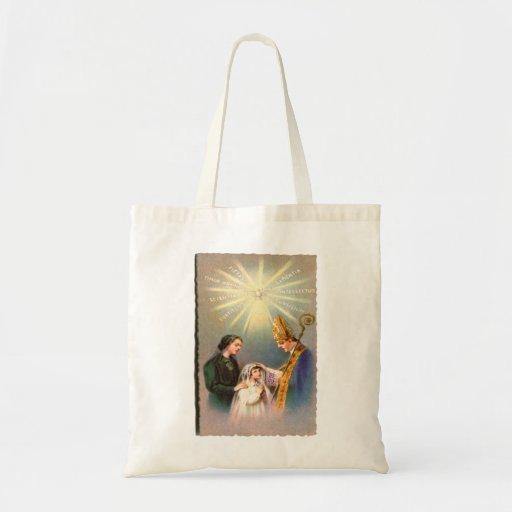Vintage Kitsch Catholic Holy Card First Communion Canvas Bag