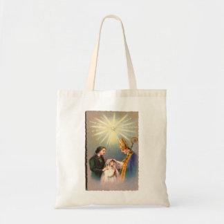 Vintage Kitsch Catholic Holy Card First Communion Budget Tote Bag