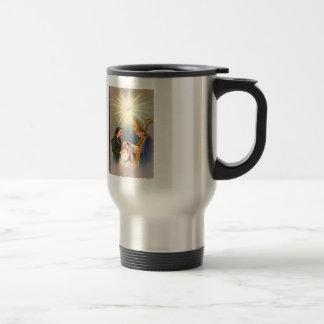 Vintage Kitsch Catholic Holy Card First Communion Travel Mug