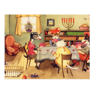 Vintage Kitsch Cats and Dogs Playing Cards Poker Postcard