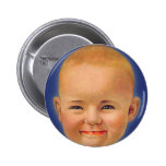 Vintage Kitsch Crazy Smiling Cute Baby Button