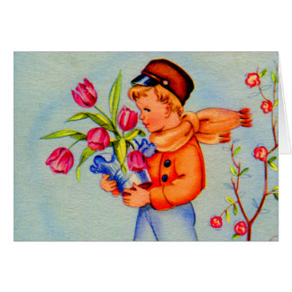 Vintage Kitsch Dutch Holland Wooden Shoes Boy Card