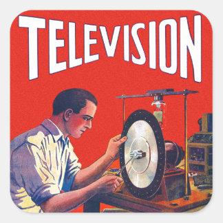 Vintage Kitsch Early TelevisionTechnology TV Set Square Sticker