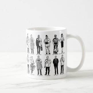 Vintage Kitsch 'Everyday Workers' Ad Illustration Basic White Mug