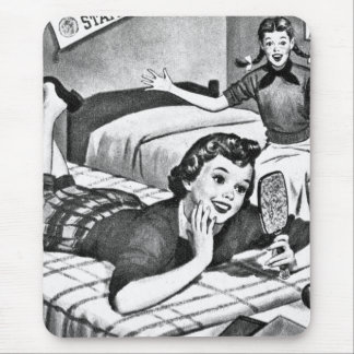 Vintage Kitsch Fifties Teens Teenager Girl Mouse Pad