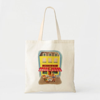 Vintage Kitsch Fifties Wine Cafe Ad Illustration Bags
