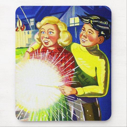 Vintage Kitsch Fireworks Sparklers and Kids Art Mousepad