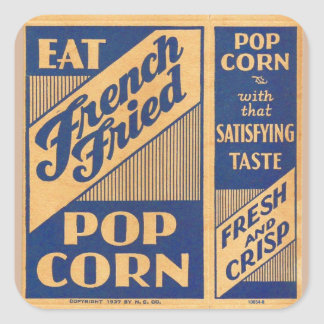 Vintage Kitsch French Fried Popcorn Box Square Stickers