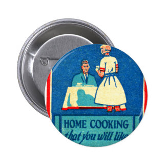 Vintage Kitsch Home Cooking 30s Matchbook 6 Cm Round Badge