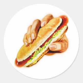 Vintage Kitsch Hot Dog with Relish Classic Round Sticker