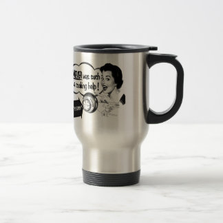Vintage Kitsch Housewife Stove Ad The Potwatcher 15 Oz Stainless Steel Travel Mug