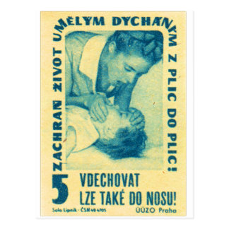 Vintage Kitsch Matchbook Czech Mouth to Mouth CPR Postcard
