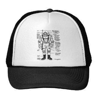 Vintage Kitsch Mr. Spaceman Astronaut Illustration Mesh Hat