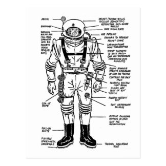Vintage Kitsch Mr. Spaceman Astronaut Illustration Postcard