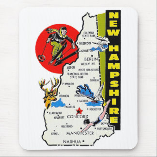 Vintage Kitsch New Hampshire State Travel Decal Mouse Pad