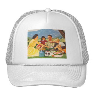 Vintage Kitsch Picnic Fifties Family Picnic Trucker Hat