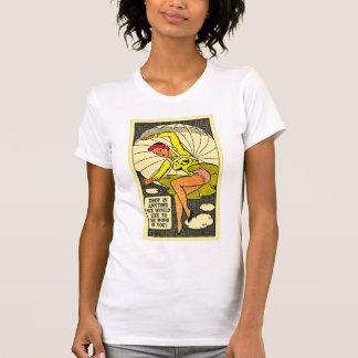 Vintage Kitsch Pin Up Gag Postcard Parachute Girl T-Shirt