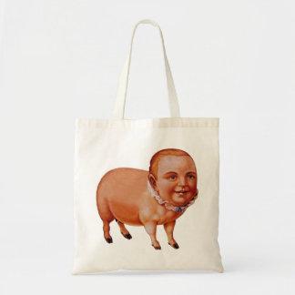 Vintage Kitsch Pork Pig The Pig Boy Circus Freak Tote Bag