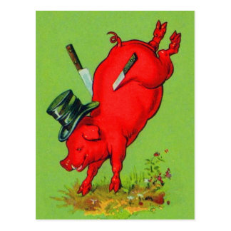 Vintage Kitsch Pork Stuck Pig With Knives Ad Postcard