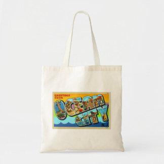 Vintage Kitsch Postcard Ocean City NJ New Jersey Canvas Bags