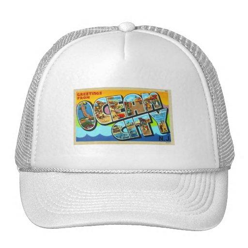 Vintage Kitsch Postcard Ocean City NJ New Jersey Mesh Hat