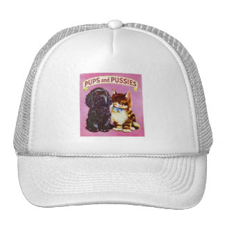 Vintage Kitsch Pups and Pussies Cat Dog Kitten Cap