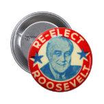 Vintage Kitsch Re-Elect Roosevelt Button Art FDR