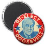 Vintage Kitsch Re-Elect Roosevelt Button Art FDR 6 Cm Round Magnet