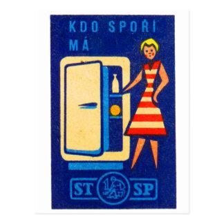Vintage Kitsch Refrigerator Fridge Czech Matchbox Postcard