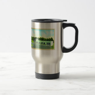 Vintage Kitsch Retro Postcard The Green Building Mugs