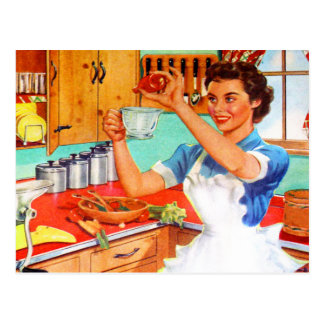 Vintage Kitsch Suburban Housewife Cooking Kitchen Postcard