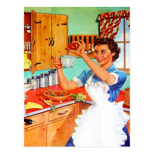 Vintage Kitsch Suburban Housewife Cooking Kitchen Postcard
