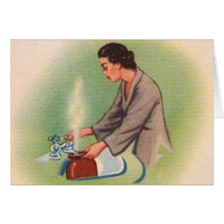Vintage Kitsch Suburbs Housewife Tea Kettle Greeting Card