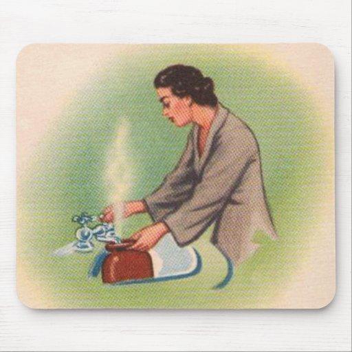 Vintage Kitsch Suburbs Housewife Tea Kettle Mousepads