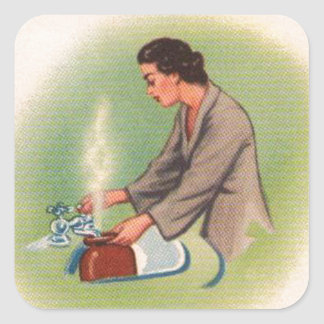 Vintage Kitsch Suburbs Housewife Tea Kettle Square Sticker