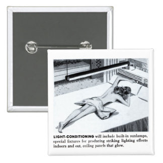 Vintage Kitsch Suburbs Suntanning Sun Lamp 15 Cm Square Badge
