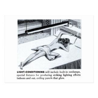 Vintage Kitsch Suburbs Suntanning Sun Lamp Postcard