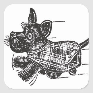 Vintage Kitsch Toy Shaking Dog Scottie Square Sticker