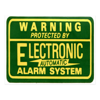 Vintage Kitsch Warning Electronic Alarm Sticker Postcard