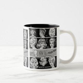 "Vintage Kitsch Wig Ad ""Wig Your Way"" Two-Tone Coffee Mug"