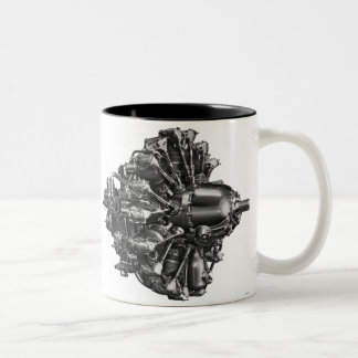 Vintage Kitsch WW2 Airplane Engine Illustration Two-Tone Mug